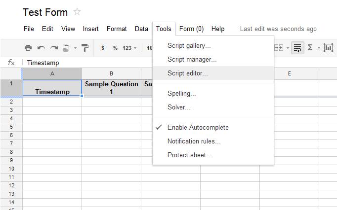 Sending Confirmation Emails with a Google Docs Form | Alamoxie